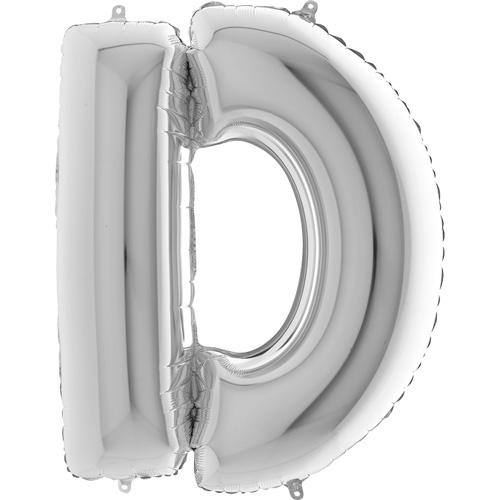 sølv bogstav D 102 cm