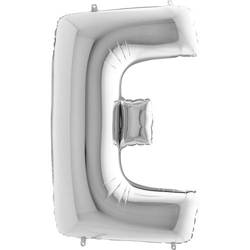 sølv bogstav E 102 cm