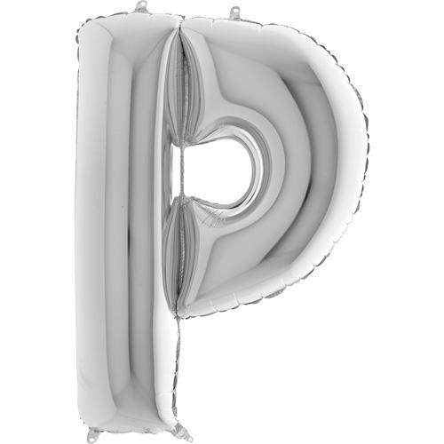 sølv bogstav P 102 cm