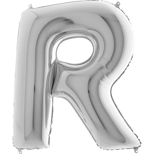 sølv bogstav R 102 cm