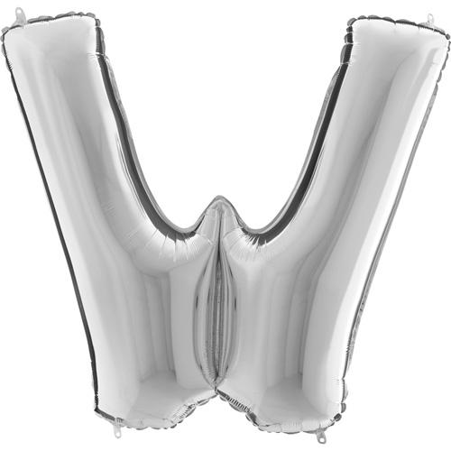 sølv bogstav W 102 cm